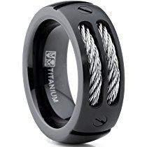 8mm Men Black Titanium Ring Wedding Band With Stainless Steel Cables And Screw Design