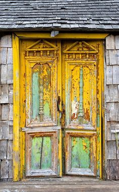 Old door: Old damaged door in Castro, Chiloe Island, Chile Cool Doors, Unique Doors, The Doors Of Perception, When One Door Closes, Yellow Doors, Knobs And Knockers, Door Gate, Foto Art, Painted Doors