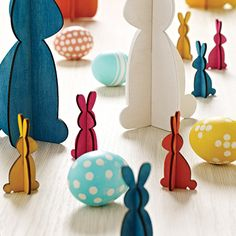 The thing about rabbits is, they multiply! Now you can decorate a hallway or dining table with a gathering of these colorful, economical harbingers of spring.