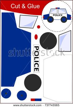 Find Cut Paste Worksheet Police Car stock images in HD and millions of other royalty-free stock photos, illustrations and vectors in the Shutterstock collection. Police Officer Crafts, Police Crafts, Cars Preschool, Preschool Activities, Police Activities, Toddler Activities, Fire Crafts, People Who Help Us, Community Helpers Preschool