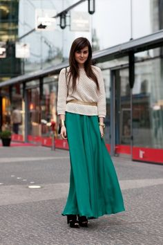 Love the teal maxi with the tan sweater...fall trend! :)