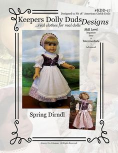 "PDF Pattern KDD-17 ""Spring Dirndl"", An Original KeepersDollyDuds Design.Doll Clothes Pattern fits 18"" American Girl Dolls"