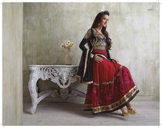 Gauhar Khan Red Semi stitched Anarkali Suit