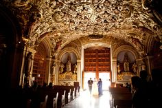 How stunning is the ceiling at Church of Santo Domingo de Guzman?! Photograph by Jorge Santiago Photography http://www.storyboardwedding.com/traditional-oaxacan-calenda-parade-highlight-the-beauty-of-this-mexican-wedding-stunner/