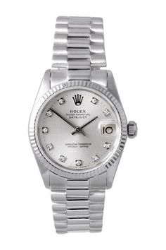 Vintage Rolex Women's White Gold Midsize President Watch by Donald E. Gruenberg Inc. - stainless steel watches womens, womens digital watches, discount womens watches