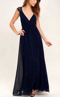 Whimsical Wonder Navy Blue Lace Maxi Dress via @bestmaxidress
