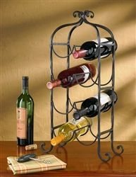 "Tall Iron Wine Rack Solid twisted wrought iron wine rack holds 8 bottles of your favorite vino and sits beautifully in your kitchen!  22 3/4"" high x 12 1/2"" wide x 5 1/2"" deep By Park Designs"