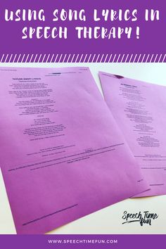 Using Song Lyrics In Speech Therapy