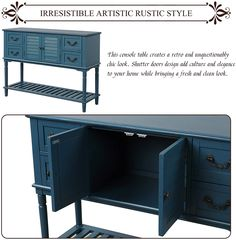 Enjoy free nationwide 3-5 business day UPS Ground shipping when supporting our family's small business. ❤IRRESISTIBLE ARTISTIC RUSTIC STYLE: This console table creates a retro and unquestionably chic look. Shutter doors design add culture and elegance to your home while bringing a fresh and clean look. Double-layer visual design bottom shelf also add culture and elegance. Each drawer is equipped with exquisite vintage patterned handle which immediately brighten up your space and balance the feel Storage Drawers, Locker Storage, Living Room Necessities, Coffee Table Redo, Space Saving Desk, Shutter Doors, Door Design, Rustic Style, Shutters