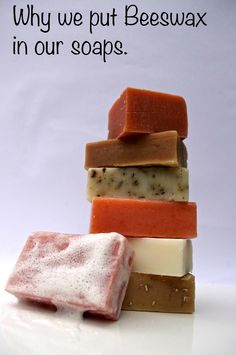 Beeswax in soaps provides a firmer longer lasting bar. The beeswax also brings natural antiseptic, anti-inflammatory properties. The cold pressed soaps are made with beeswax, olive, almond and coconut oil, they are mild and gentle and will not dry out your skin. Preservative free.
