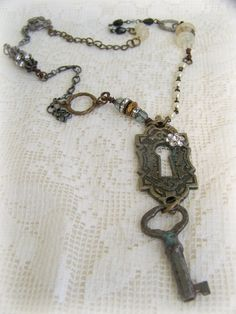 Handmade Altered  Vintage  Necklace Vintage Gypsy Style  by Queen Be