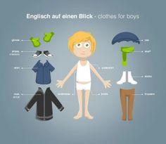 """Englisch lernen mit """"Englisch auf einen Blick"""": clothes for boys Vokabeln (http://magazin.sofatutor.com/schueler/) Anziehpuppen zum Ausdrucken"""