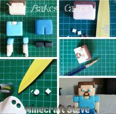 Minecraft Steve tutorial Minecraft Torte, Minecraft Birthday Cake, Lego Minecraft, Fondant Toppers, Fondant Cakes, Cupcake Cakes, Cupcakes, Pastel Minecraft, Cakepops