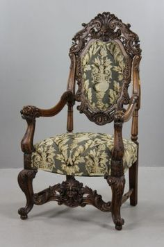 Antique Carved Lionate Armchair