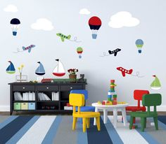 Kids boats hot air balloons planes clouds set vinyl wall decal cute for any nursery or boys room