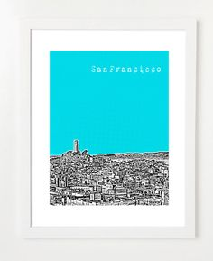 San Francisco Poster  San Francisco Skyline Art by BugsyAndSprite, $20.00