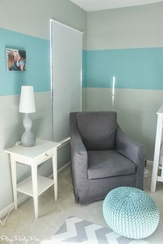 Best glider ever in this comfy nursery corner, great blue and gray nursery ideas from playpartypin.com #gray #blue #nursery #glider