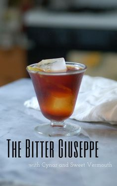 The Bitter Giuseppe a cocktail with cynar and sweet vermouth. A good introduction to Italian amari and a delicious aperitivo. From Blossom to Stem | Because Delicious http://www.blossomtostem.net