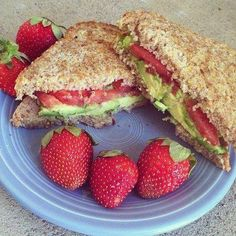 Clean eating lunch idea - avocado and tomato on whole wheat bread with strawberries. Yum! Via Eat Clean. Train Mean. Live Green. on Facebook.