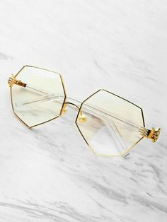 8124c05b4099 Shop Palm Detail Polygon Glasses With Clear Lens online. SheIn offers Palm  Detail Polygon Glasses With Clear Lens & more to fit your fashionable needs.