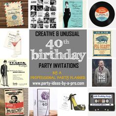 The Best Birthday Invitations—by a Professional Party Planner 40th Birthday Invitations, 40th Birthday Parties, Birthday Ideas, Card Designs, Creative, Cards, Card Patterns, Maps, Playing Cards