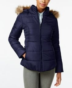 Rampage Faux-Fur-Trim Hooded Ruched Puffer Coat, Only at Macy's - Blue L