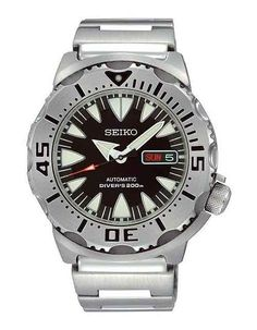 The @seikowatches Monster SRP307 - this Seiko divers' watch is water-resistant to 660 feet/200 meters with a self-winding caliber (4R36) enclosed in a big 45-mm stainless-steel case with a screw-down crown.  More @ http://www.watchtime.com/blog/fratello-friday-top-5-watches-1000/ #seiko #watchtime #divewatch