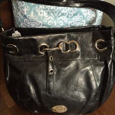 Nine West Black Bucket Style Bag Black bag | Man-made materials | Looks like real leather | Silver-tone hardware  |  Nice bag | Smoke- free and Pet- free household | Top zipper closure Nine West Bags Hobos