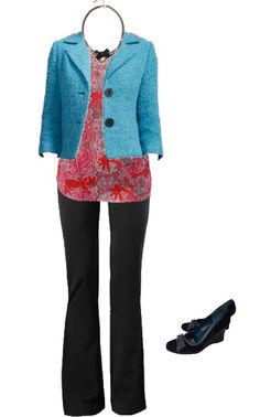 CAbi Holiday Outfit: charming jacket, jubilee printed top, rave trousers, bronze bow necklace
