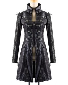 Punk Rave Womens Steampunk Jacket Coat Black Goth Military Punk Faux Leather - EBay Store with lots of cool stuff