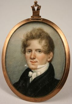 Portrait Miniature On Ivory Of Dr. Hugh McGavock Kent in original oval frame with braided hair  c. First Quarter Of The 19th Century