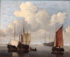 Willem van de Velde (c. 1611-1693), Dutch seascape painter, Stille See (calm see) at the Kunsthalle in Hamburg, Germany, 2014.