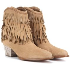 Aquazzura Pocahontas Cowboy 45 Suede Ankle Boots ($940) ❤ liked on Polyvore featuring shoes, boots, ankle booties, beige, aquazzura booties and aquazzura