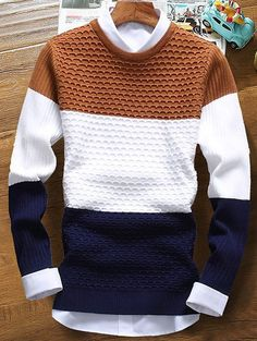Color Striped Ribbed Texture Sweater   NastyDress.com