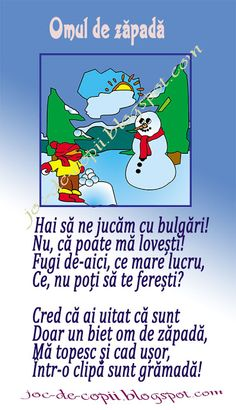 Omul de zăpadă #poezie Anul Nou, Home Activities, Flower Power, Children, Kids, Kindergarten, Poems, Teaching, Cartoon