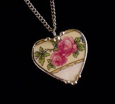 Pink cabbage roses Broken china jewelry necklace by Dishfunctional Designs