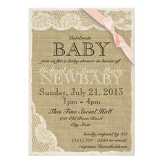 Soft pink bow over ivory lace and burlap, as sweet printed look on the linen or felt paper for a country vintage baby shower.