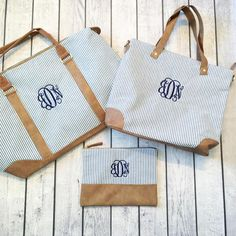 Seersucker Bundle (including the Monogrammed Weekender, Shoulder Bag and Zip Pouch | Gentry California | $100 | Click link to shop: http://www.gentrycalifornia.com/collections/monogrammed-bags-accessories/products/seersucker-bundle-monogrammed-weekender-bag-shoulder-bag-zip-pouch