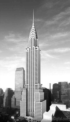 Chrysler building black and white new york city buildings