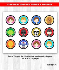 Star Wars Cupcake Topper & Wrapper Digital File INSTANT DOWNLOAD  ----------------------- ★★ Package Included ★★-----------------------------------  You will received * 20 Cupcake Toppers in total * 6 Cupcake Wrappers in total * 1 PDF File, with every items neatly layout in 8.5 x 11 Paper size for printing * 3 High Resolution JPEG Files, with every items neatly layout in 8.5 x 11 Paper size for printing  --------------------★★ INSTANT DOWNLOAD ★★--------------------  Once your payment has...