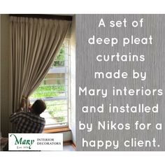 Mary Interiors is the ultimate in interior decoration. We cover everything from conceptualisation, to manufacturing and installation. Made By Mary, Pleated Curtains, Custom Curtains, Custom Design, How To Become, Interior Decorating, Lounge, Window, Deep
