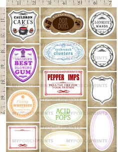 Harry Potter Candy Labels Harry Potter Party by MyPorchPrints
