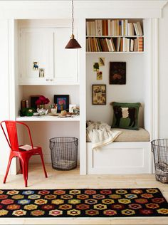 Tiny office space idea. I love this and reversed it would fit our space perfectly and provide some extra seating.