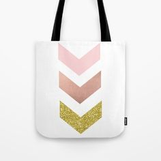 Rose gold and glitter tote bag on Society 6 (Peggie Prints)