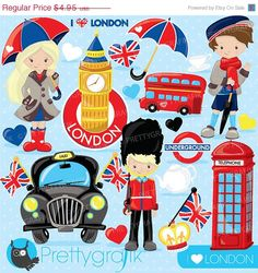80% OFF SALE London clipart for scrapbooking by Prettygrafikdesign