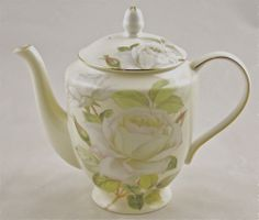 English Teapots And Cups | Fine English Bone China Teapot - 6 Cup - Iceberg Rose Chintz - Teapots