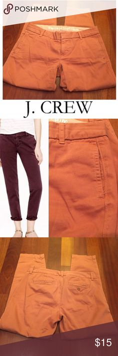 J. Crew Broken In Chino City Fit Terra-cotta Crops J. Crew Broken In Chino City Fit Terra-cotta Crop Pants. 7.75 inch rise. 26 inch inseam. Gently worn. Great condition. Included a model in a different color to give you an idea of the fit. Feel free to make an offer or bundle & save! J. Crew Pants Ankle & Cropped
