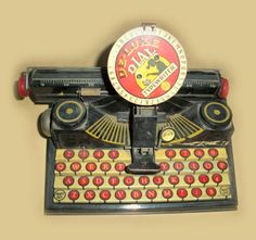 Vintage TIN TOY TYPEWRITER - Super Graphics - Neat 1940's Marx Deluxe Dial Typewriter - WoW. $19.00, via Etsy.
