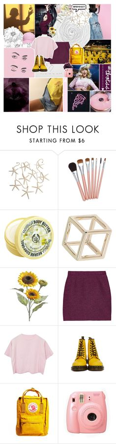 """"""";; when we both fall asleep underneath the same sky--tbotss round 02"""" by madison-the-swiftie ❤ liked on Polyvore featuring The Body Shop, Topshop, Pier 1 Imports, Proenza Schouler, Dr. Martens, Fjällräven, DK, Fuji and tbotss"""