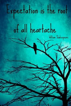expectation is the root of all heartache ~ Shakespeare